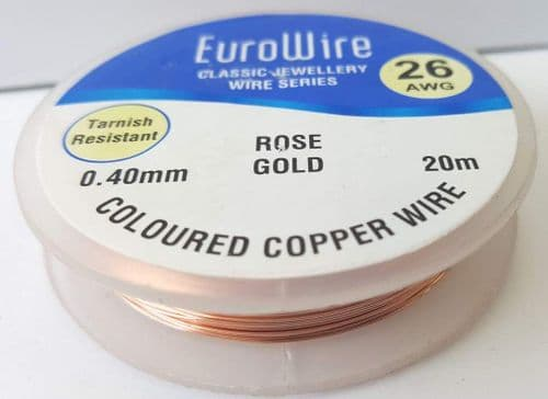 Rose Gold Copper Wire 0.4mm x 20m (reel)